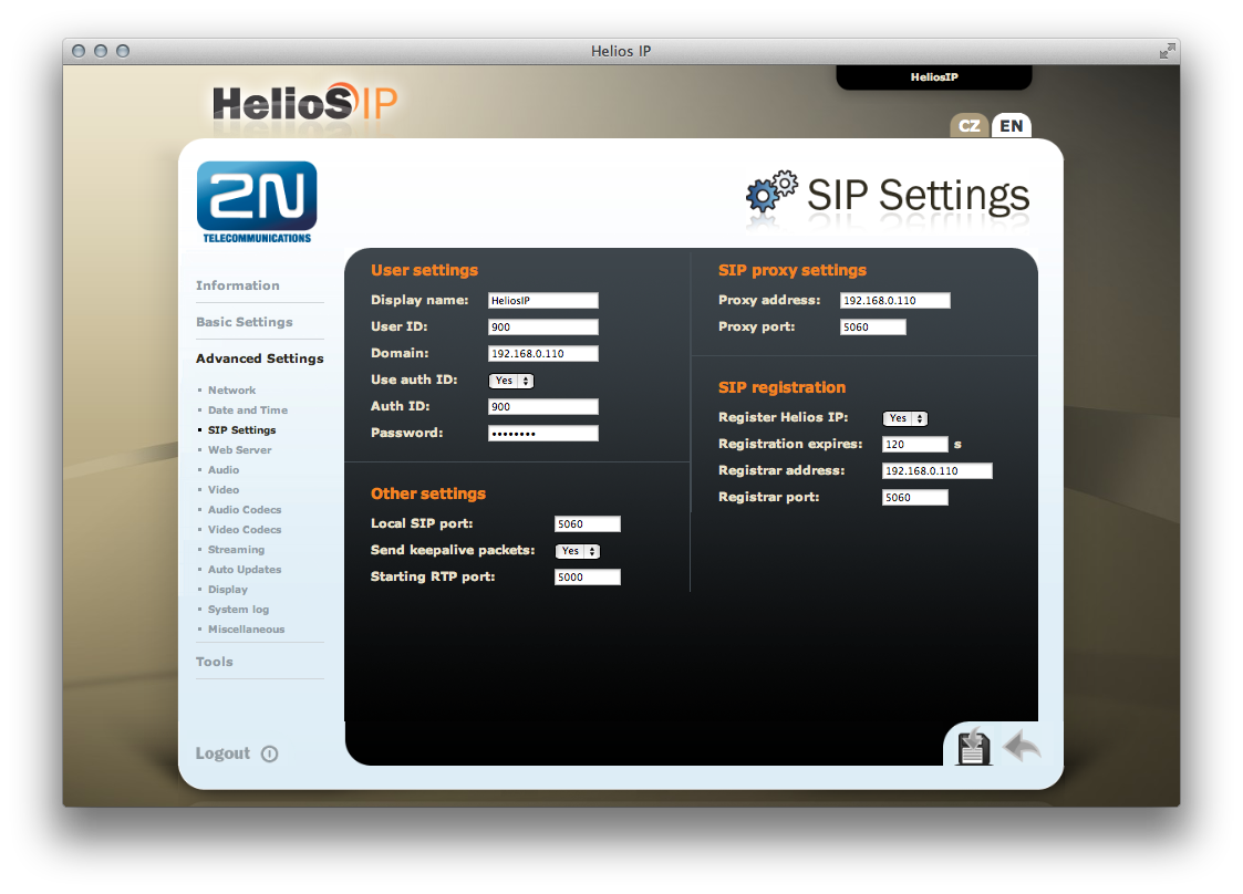 Esempio di configurazione per videocitofono 2N HELIOS IP