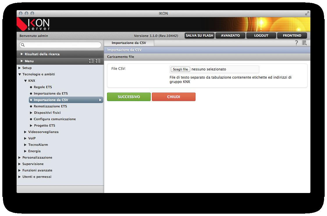 Importazione indirizzi KNX da file CSV